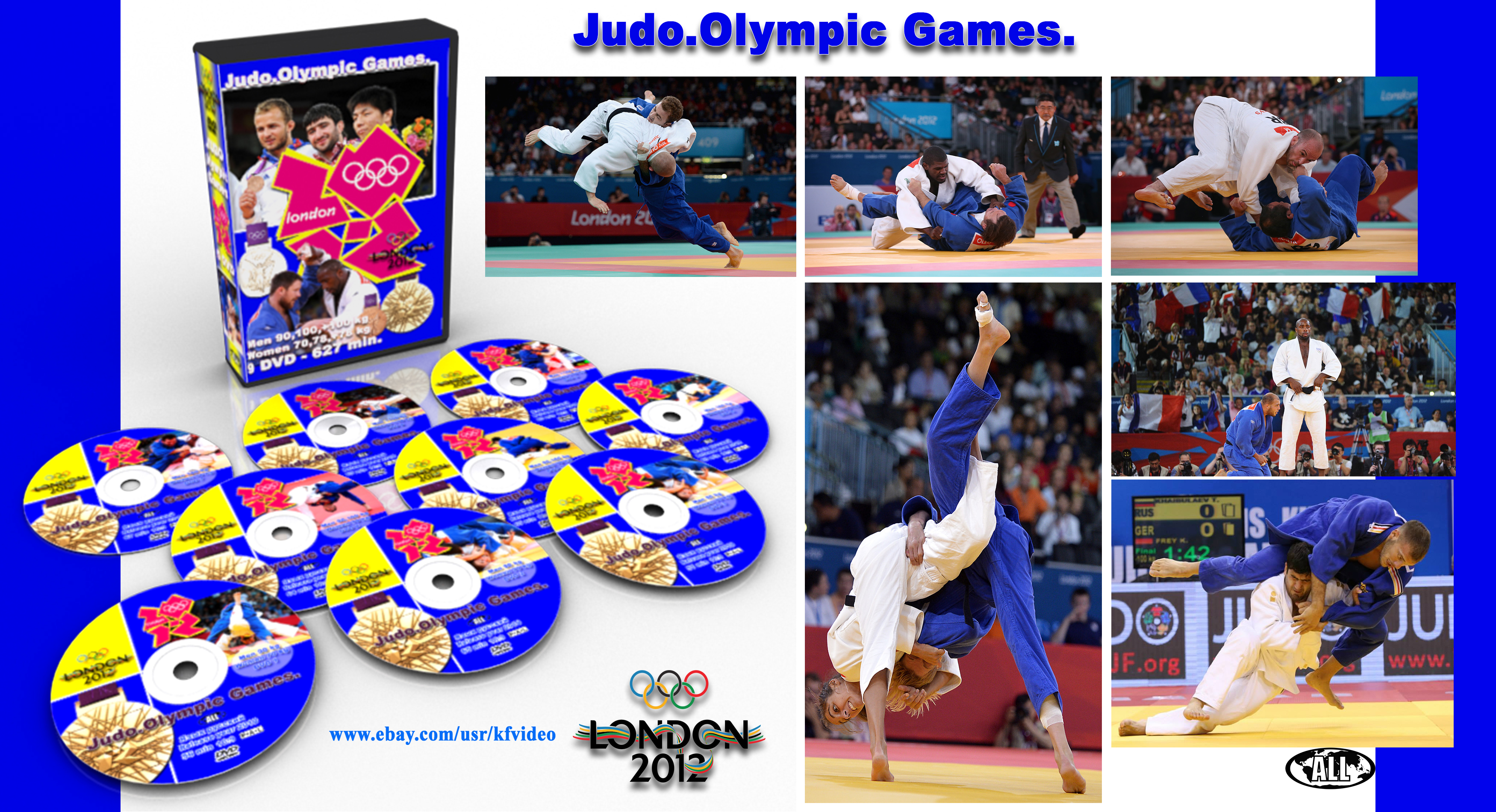 Дзюдо на олимпийских играх. Лондон 2012. Сборник 2. 9 DVD -627 минут. Мужчины 90,100,+100 кг. Женщины 70,78,+78 кг.