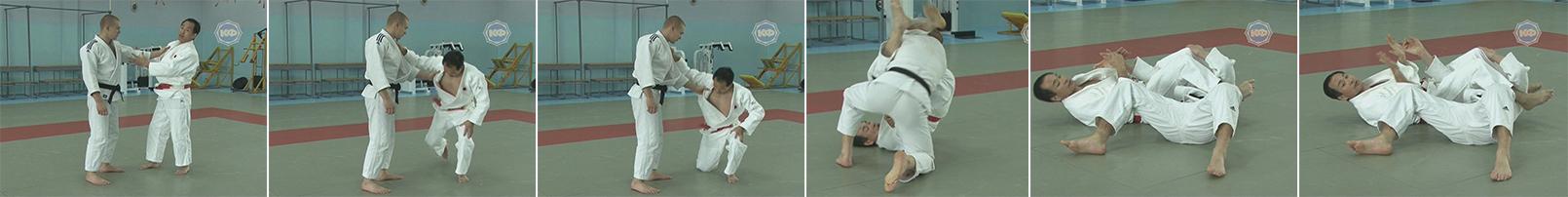 Бросок через голову (tomoe-nage). Переход на болевой приём удэ-хишиги-джуджи-гатамэ (Ude-hishigi-juji-gatame) Рычаг локтя захватом руки между ног.