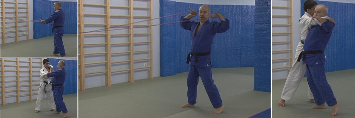 Общее начало работы с резиновым эспандером для приёмов борьбы самбо и дзюдо.
