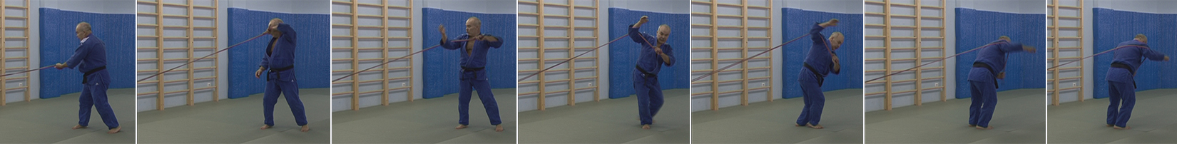 Exercises with a rubber expander. Throw through a shoulder - seoi-nage.