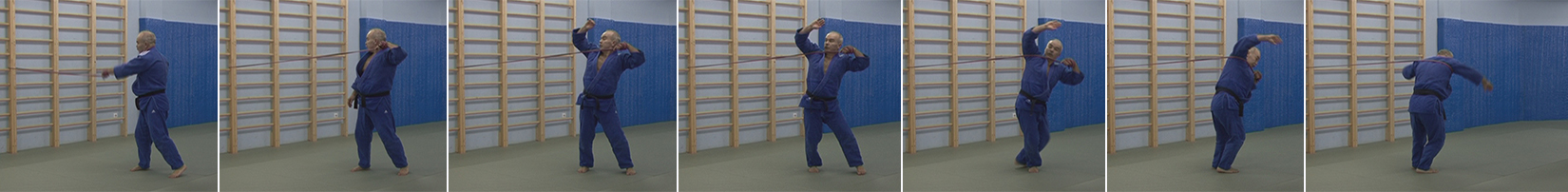 Exercises with a rubber expander. The soto-makikomi throw.