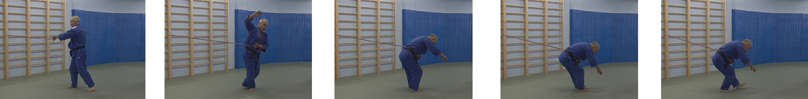 If the rubber is pulled at belt level, then the athlete bends and falls backwards. These photos show the wrong movement.
