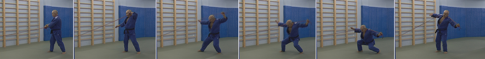 """Exercises with a rubber expander. Throw over the shoulders of the """"melnitsa"""" - Kata-guruma."""
