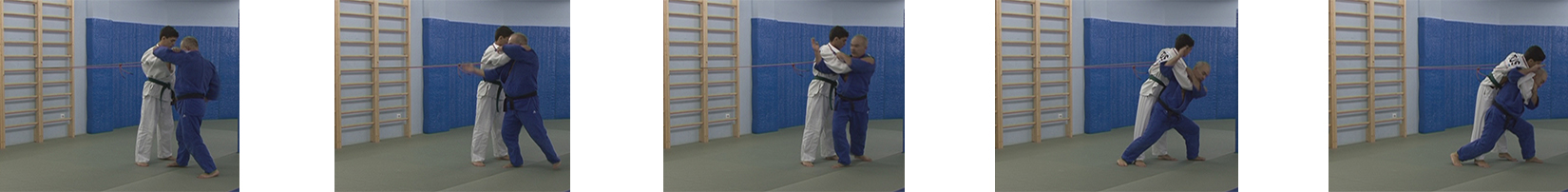 Exercises with a rubber expander. Throw over the shoulders – seoi-nage.