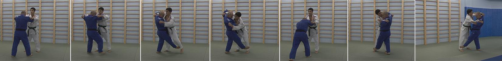 Exercises with a rubber expander. Throw front notch-Sasae-tsurikomi-ashi.