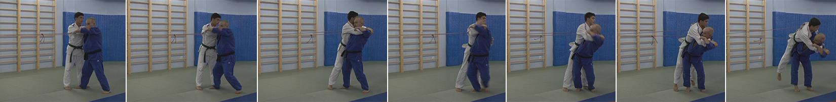 Exercises with a rubber expander. Throw through the hip with a belt grip - Tsuri-goshi.