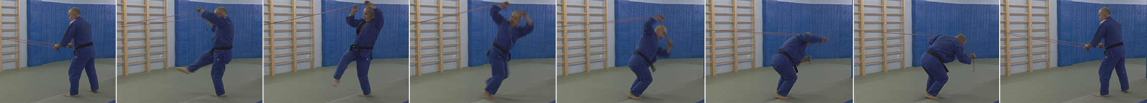Упражнения с резиновым эспандером. Бросок через спину - morote-seoi-nage.