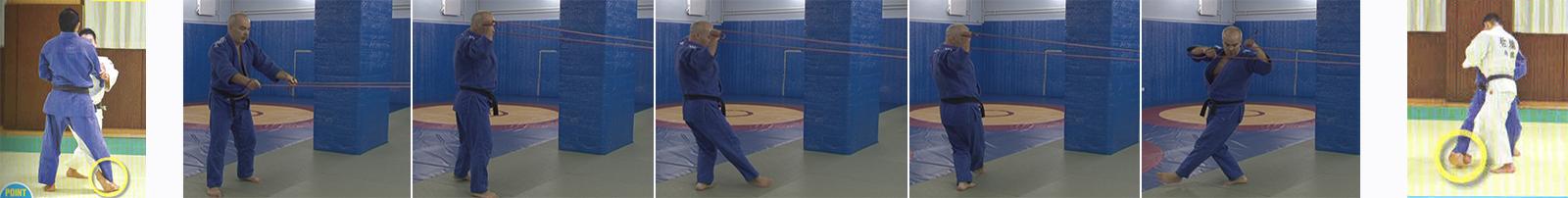 Упражнения с резиновым эспандером. Бросок подсечка изнутри - Ko-uchi-gari.