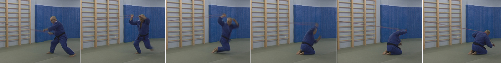 Exercises with a rubber expander. Throw through a back from the knees - Seoi-otoshi.